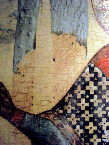 Icône russe pendant nettoyage et restauration. Belle peinture, feuille d'or or avec cadre en leçon sculpté et argenté, vers 18 siècle . Tempera sur levka sur bois