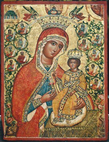 Ancien icône greque après la restauration.. Belle peinture sur fond or vers 18 siècle Tempera sur levka sur bois