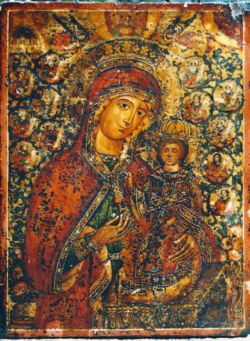 Ancien icône greque pendant la restauration.. Belle peinture sur fond or vers 18 siècle Tempera sur levka sur bois