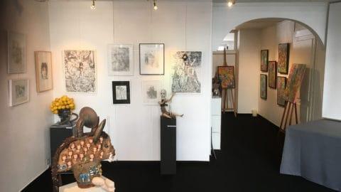 Dessin de l'artiste genevois Serge Diakonoff à l'espace d'exposition Blitz Artco à Genève